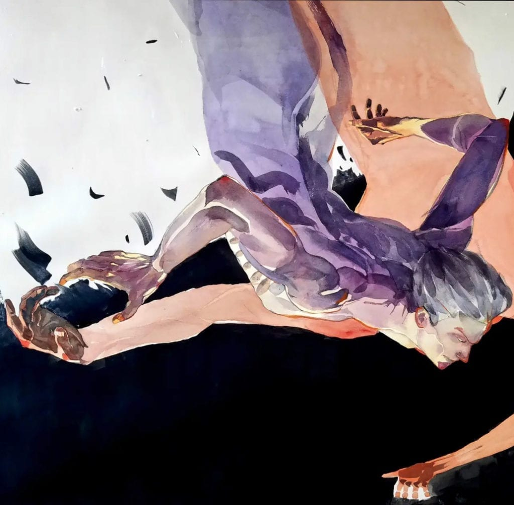 Watercolor by Antonio - The beginning of falling and resilience