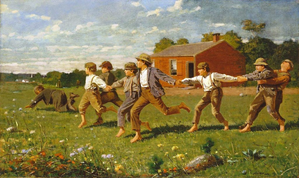 Snap the Whip - Winslow Homer - Oil Painting 1872 New England