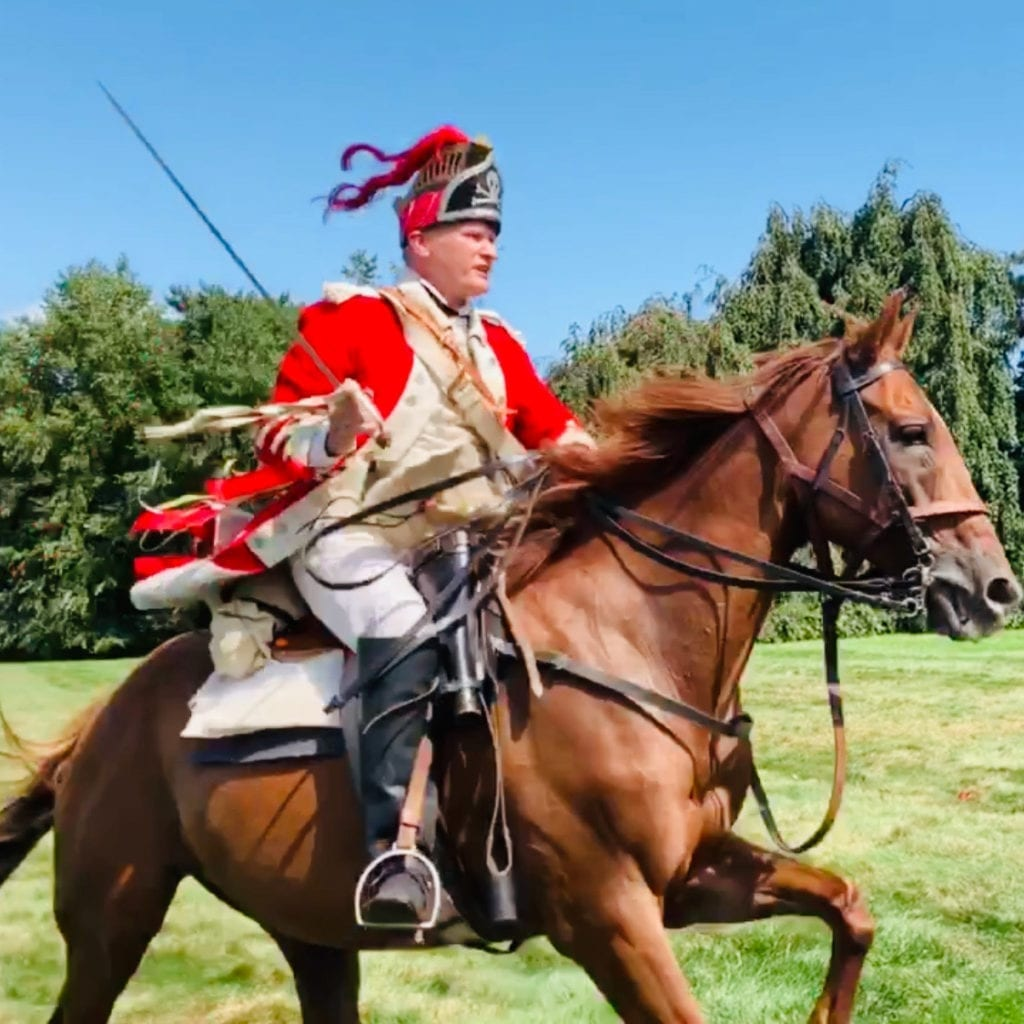 re enactment revolutionary war british soldier atop horse - The Old Stone House Brooklyn