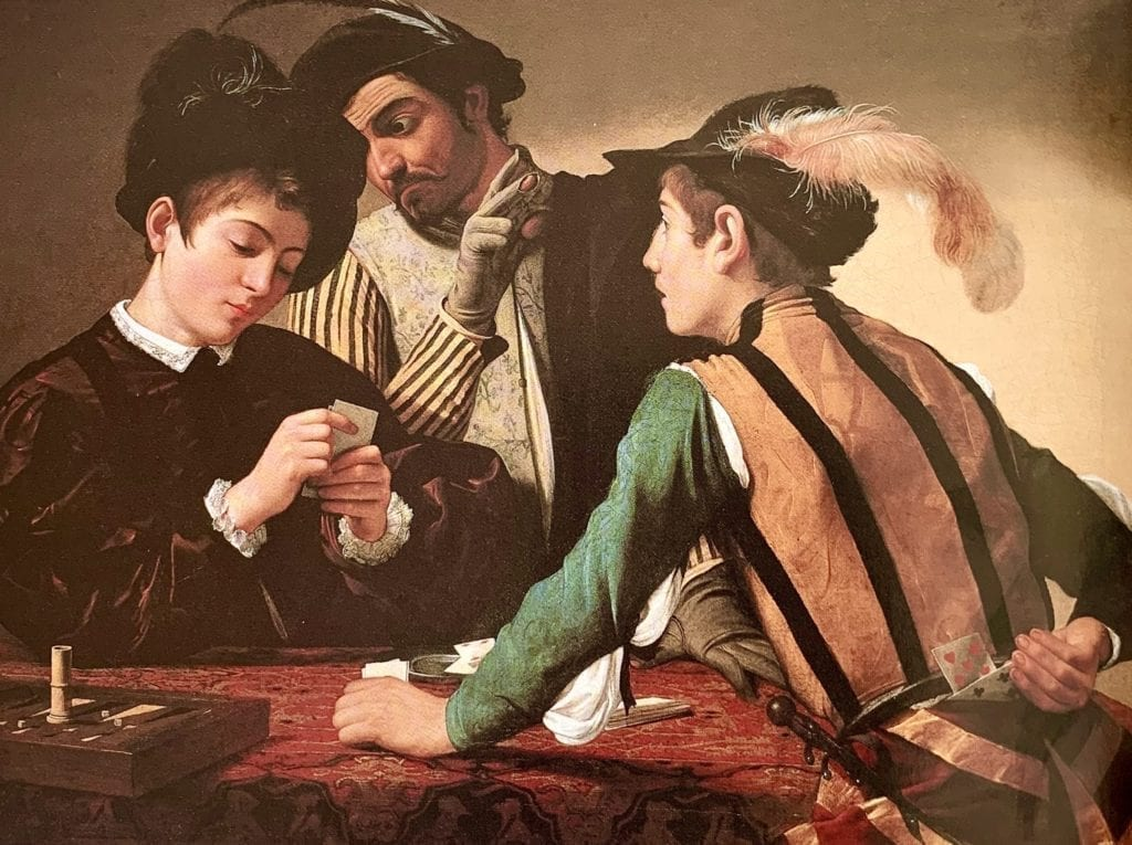 The Cardsharps by  Michelangelo Merisi Caravaggio