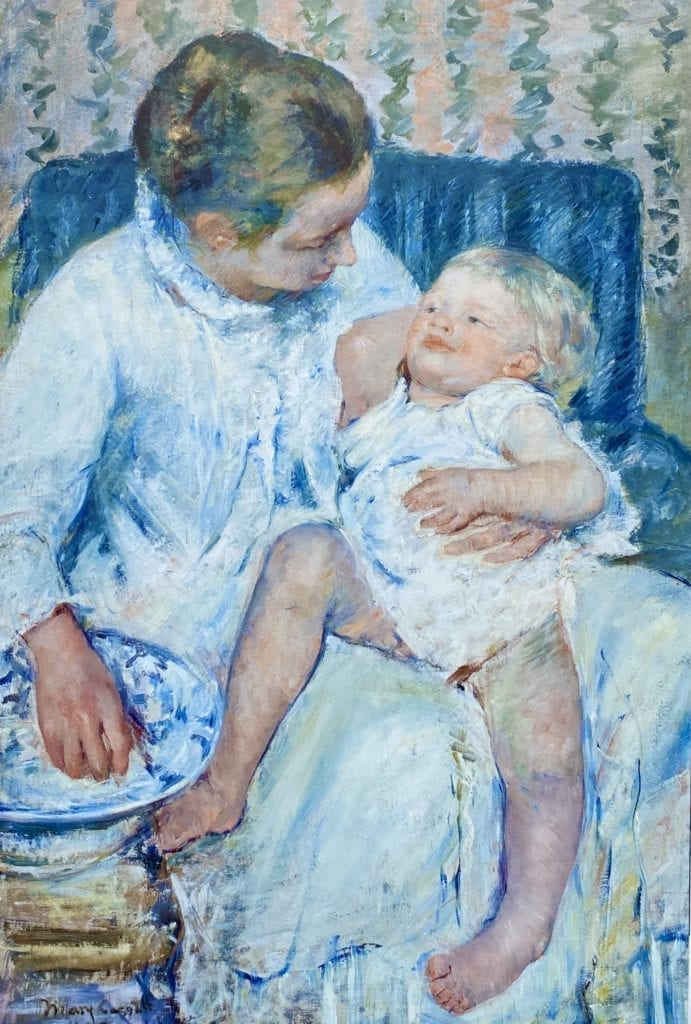 Mother About to Wash Her Sleepy Child 1880 Mary Cassatt